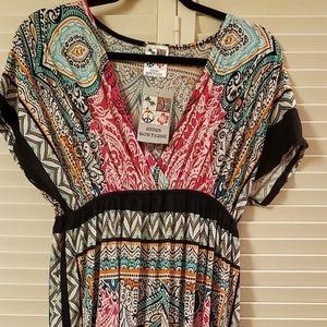 Empire waist resort/ cruise  boho maxi dress L/XL